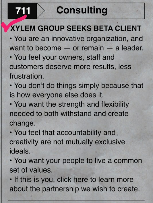 ad for Xylem-Group Beta Client