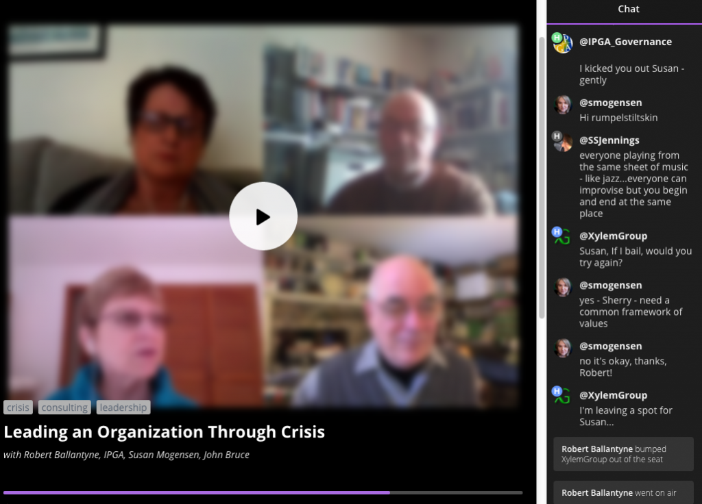 "Xylem Group, Blab recording, ""Leading an Organization Through Crisis"""