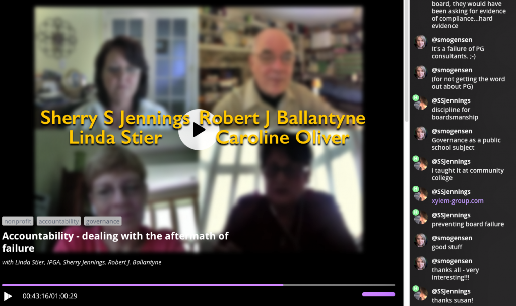 Blab (a video podcast) on the subject of Accountability - Dealing with aftermath of failure